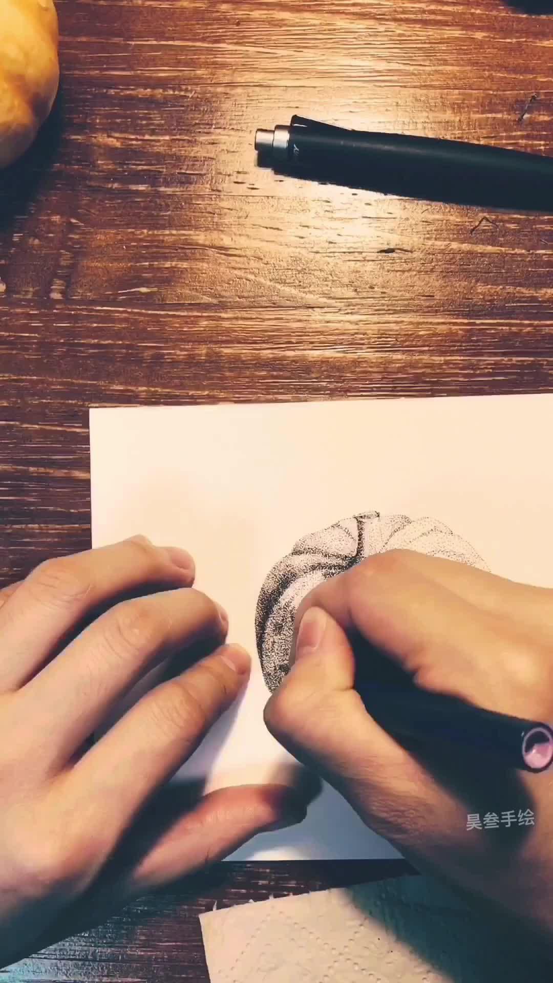 昊叁手绘带你练绘画(二)实物南瓜