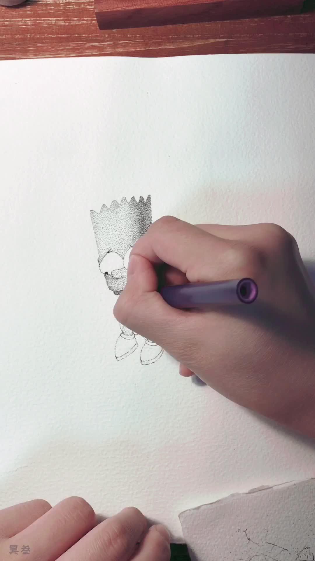 昊叁手绘带你练绘画(八)忧伤辛普森