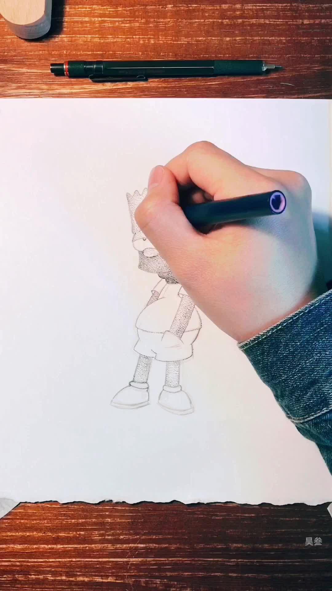 昊叁手绘带你练绘画(七)孤独辛普森