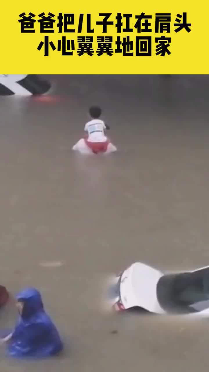 郑州:父爱如山!爸爸把孩子扛在肩头 小心翼翼地蹚着深水回