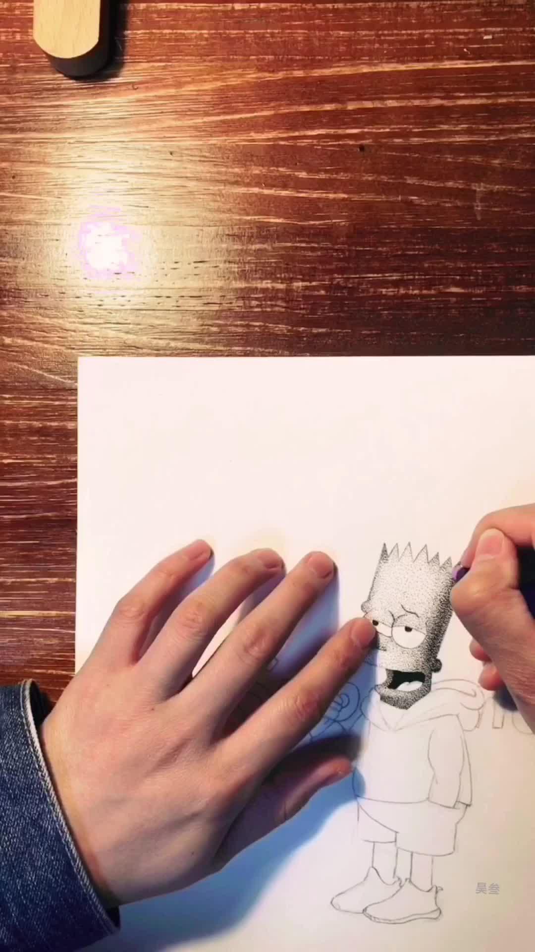 昊叁手绘带你练绘画(五)辛普森